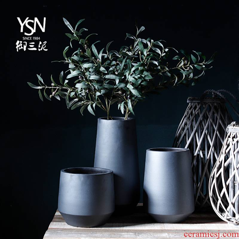 Zen decorative furnishing articles ceramic dry flower vase Nordic contracted home stay facility minimalist Japanese small and pure and fresh flower arranging the living room