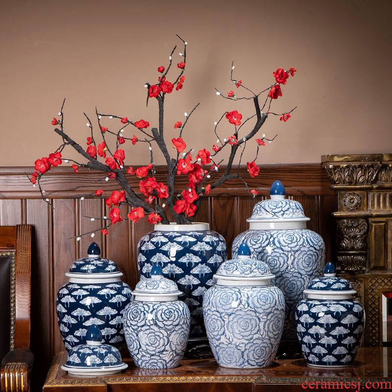 Jingdezhen ceramic vase furnishing articles of Chinese style restoring ancient ways is the general canister decoration in the sitting room adornment household vase