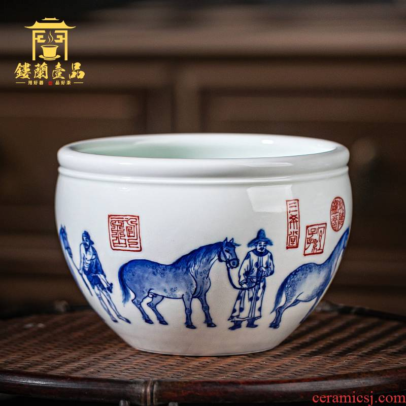 Jingdezhen ceramic pure hand - made five misty blue large tea wash tea accessories for wash bowl with writing brush washer water jar