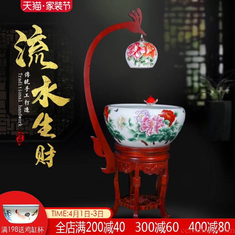 Jingdezhen ceramic aquarium oversized raising goldfish bowl Chinese circulation filter water indoor home sitting room with light