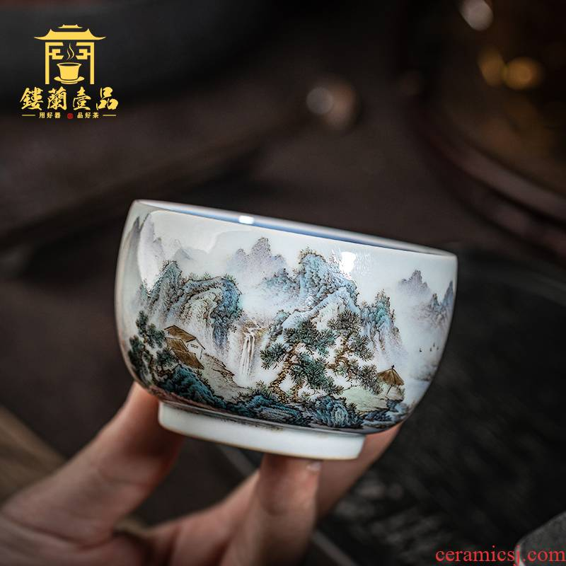 Jingdezhen ceramic checking in pastel blue and white landscape master cup hand - made kung fu tea set single cup tea cups