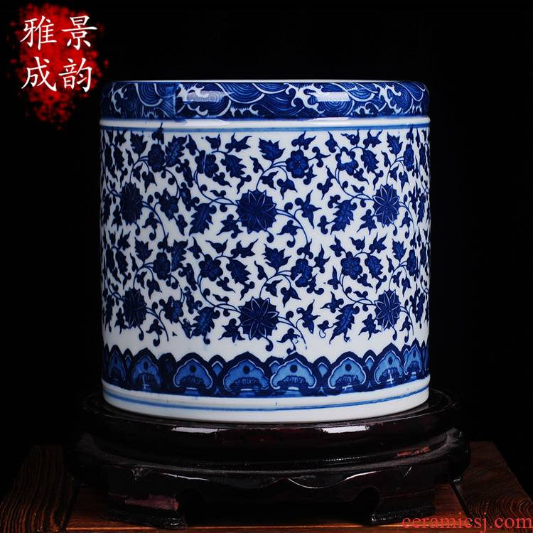 Jingdezhen ceramics brush pot ornament sitting room of Chinese style study modern furnishing articles creative the teacher 's day gifts