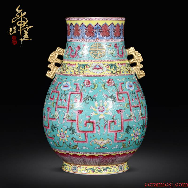 Imitation the qing qianlong emperor up jingdezhen ceramics pastel green, see the bucket bottom pick flower vase Chinese style porch place