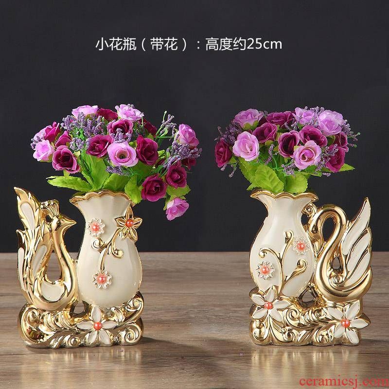 European ceramic vase furnishing articles home sitting room flowers green plant lily flower vase decoration glass vase
