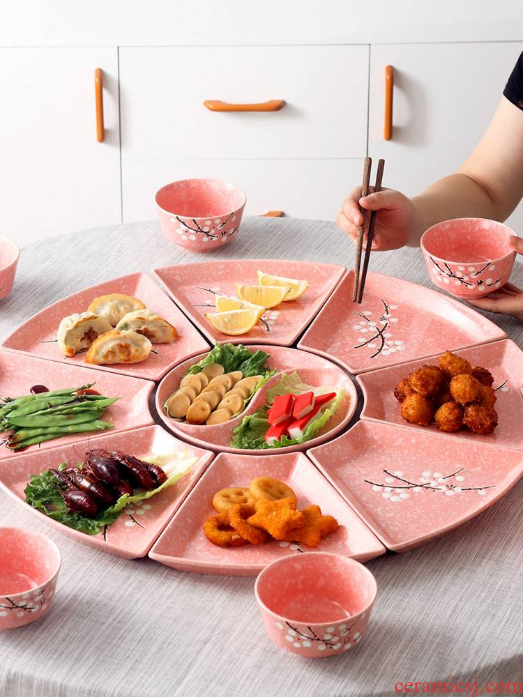 The dishes suit household 0 seafood hot pot reunion dinner party platter The creative ceramic tableware portfolio