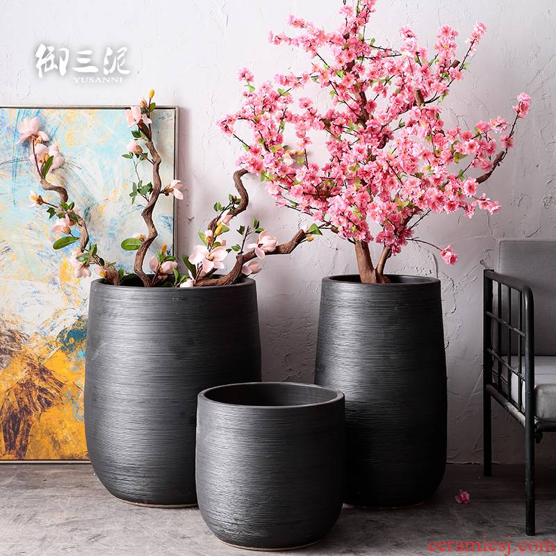 Ceramic furnishing articles, green plant POTS, large diameter indoor plant decoration Nordic flowerpot I and contracted dry flower vase