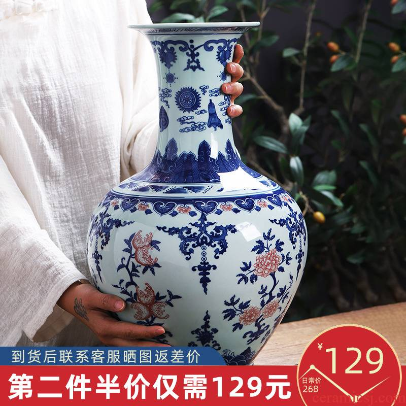 Jingdezhen ceramics design blue and white porcelain vase furnishing articles of Chinese style household act the role ofing is tasted, the sitting room TV ark adornment arranging flowers