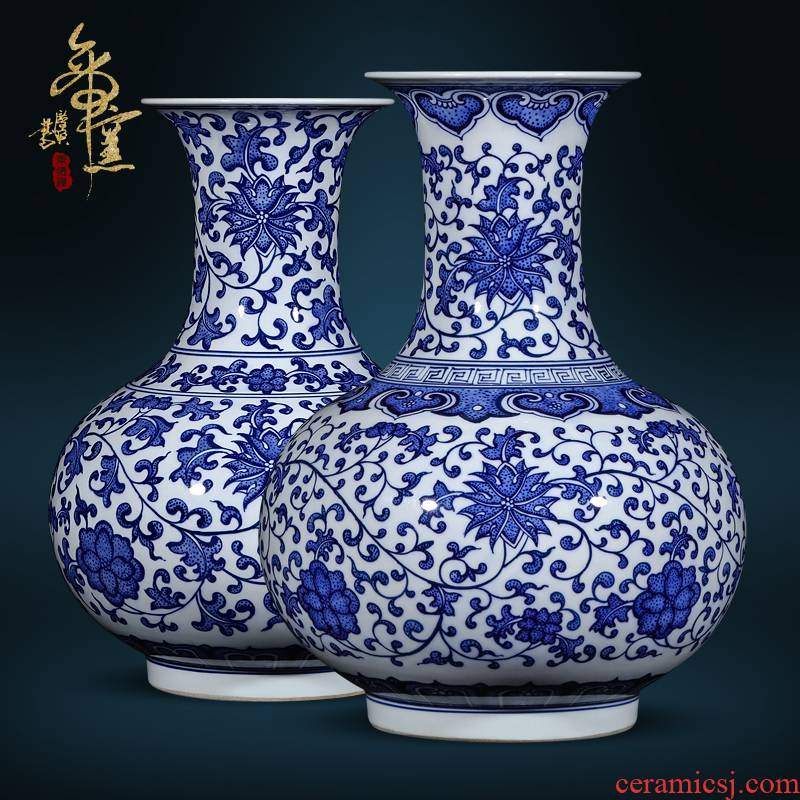 Jingdezhen ceramics imitation the qing qianlong blue tie up the lotus flower, the design of Chinese style living room TV cabinet porch is decorated furnishing articles