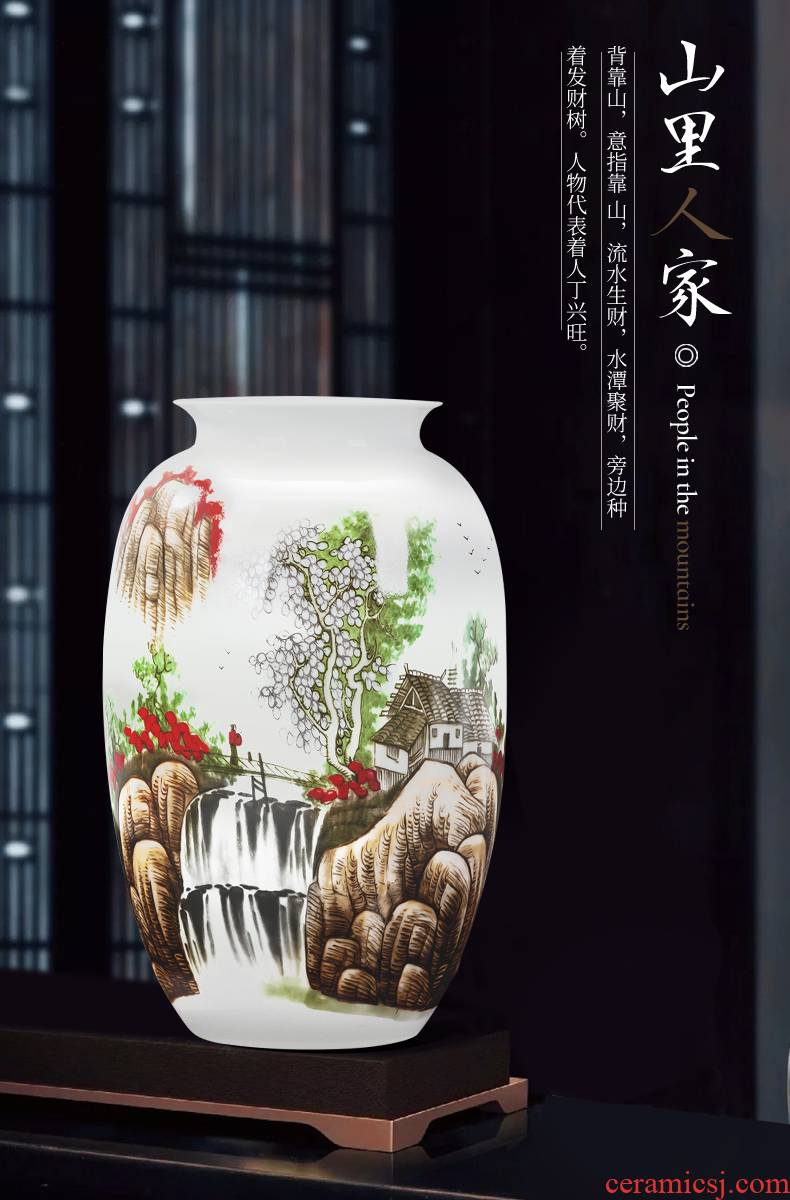 Jingdezhen ceramics vase Chinese flower arranging home sitting room porch TV ark, Angle of what adornment is placed on the ground