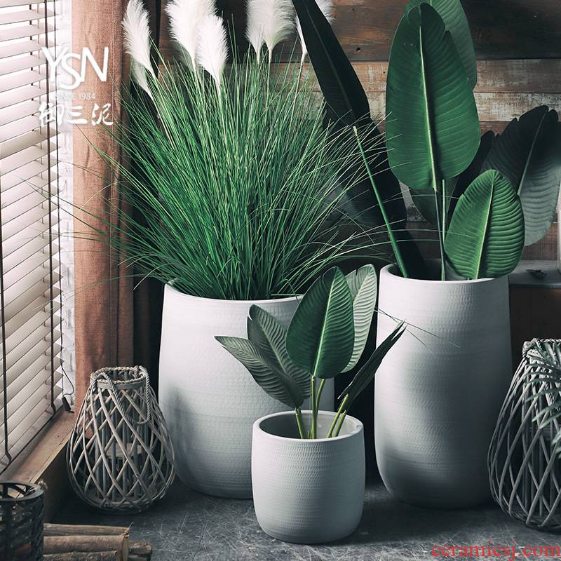 Nordic flowerpot, I and contracted vase imitation ceramic cement color green, the plants hydroponics large - diameter cylinder indoor plant decoration
