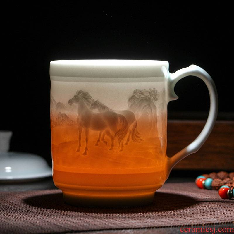 Jingdezhen ceramic cups with cover glass cup boss mugs gift mugs creative Chinese zodiac