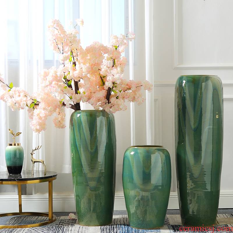 European ceramic light of large vase key-2 luxury furnishing articles dried flower arranging flowers green glaze, the sitting room porch decoration home decoration