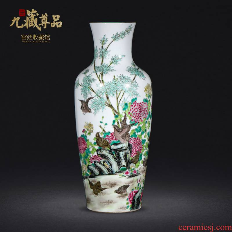 Jingdezhen ceramics antique hand - made famille rose to live and work in peace and contentment goddess of mercy bottle sitting room porch handicraft furnishing articles