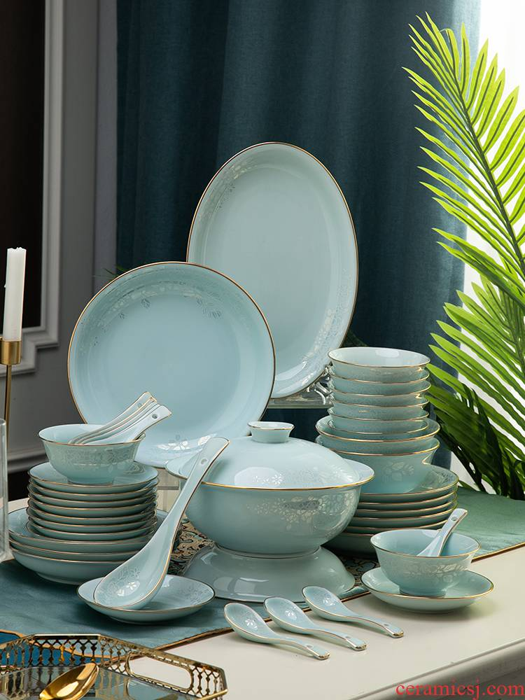 European dishes suit household of Chinese style up phnom penh contracted dishes combination of jingdezhen ceramic celadon cutlery set