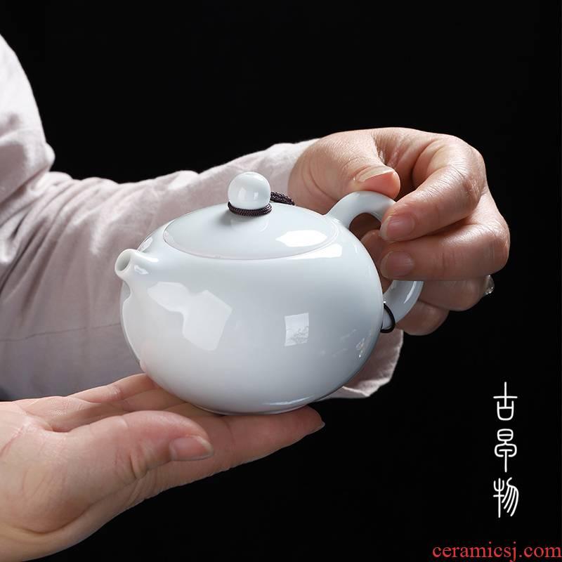 Shadow celadon pot pure manual xi shi tea single pot of contracted and I ceramic kung fu tea tea fullness
