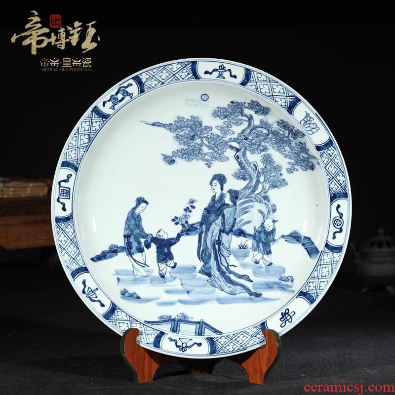 Jingdezhen ceramic antique hand - made character hang dish to decorate sitting plate hanging furnishing articles porcelain household act the role ofing is tasted