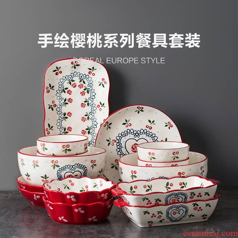 Japanese ceramics tableware suit creative web celebrity move dishes chopsticks dishes suit household jobs combination four people