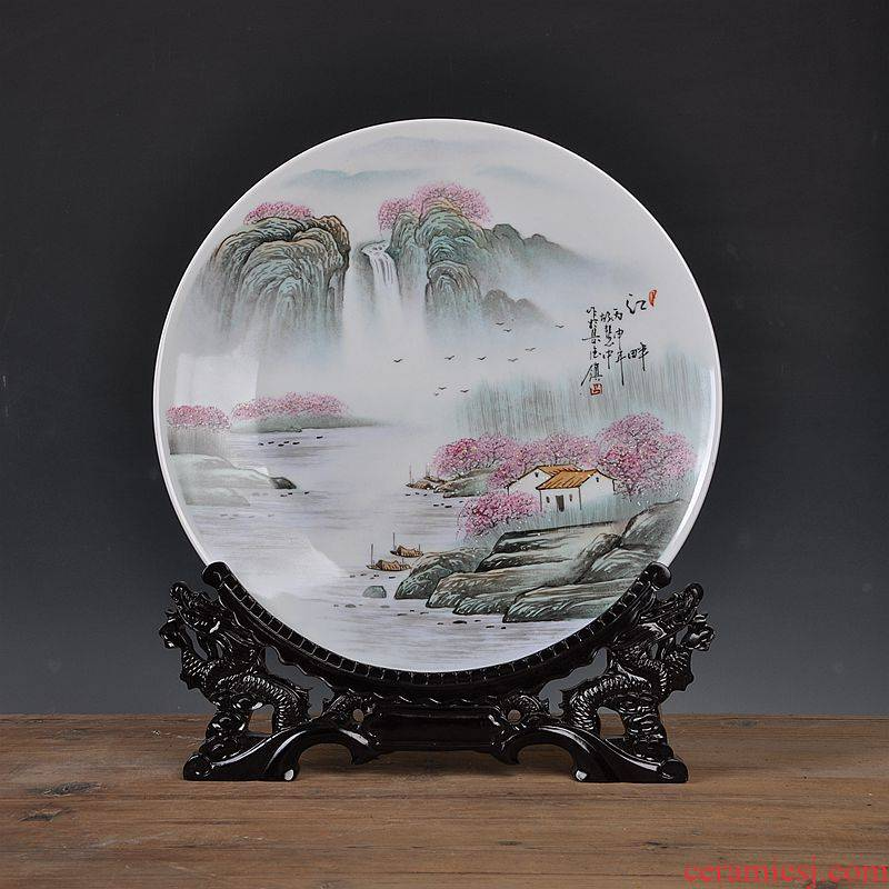 Jingdezhen ceramic hang dish of new Chinese style decoration plate hand - made the sitting room porch sitting plate decoration handicraft furnishing articles