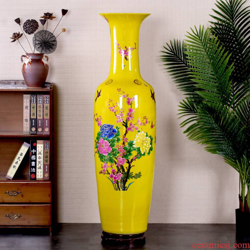 Jingdezhen ceramic rich large vase yellow paint peony flowers China home sitting room hotel furnishing articles