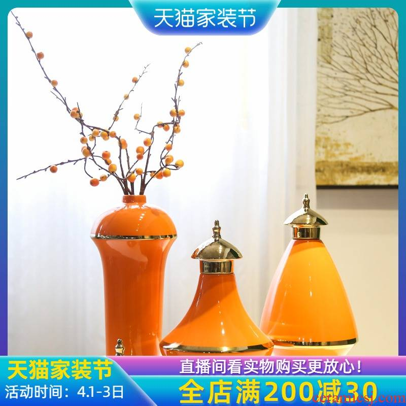 Jingdezhen new Chinese style light much creative flower furnishing articles European American sitting room TV cabinet mesa porch big vase
