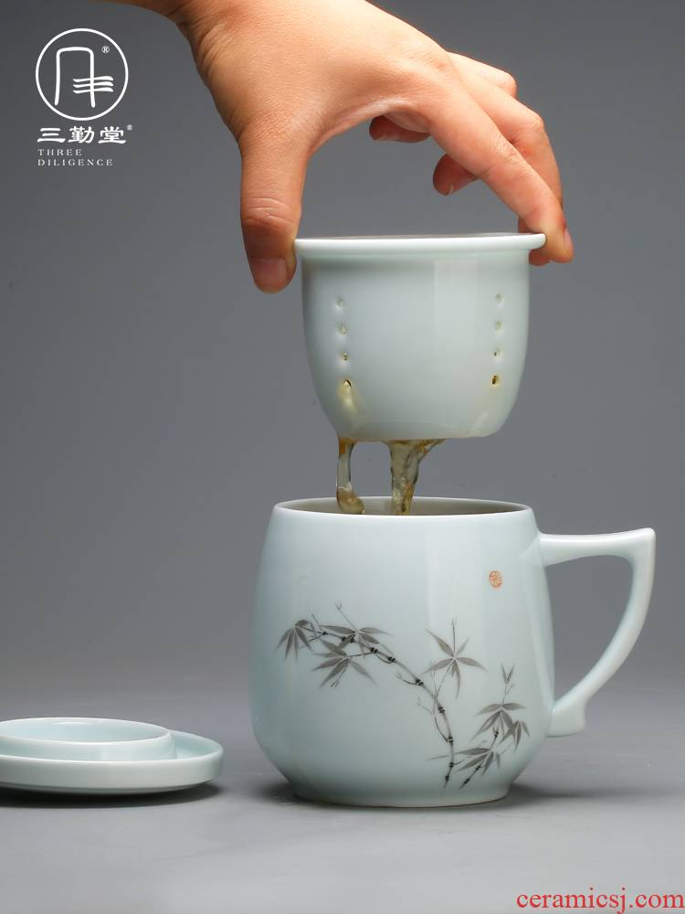 Three frequently hall jingdezhen ceramic filter with cover mark cup tea tea cups separation office tea cup