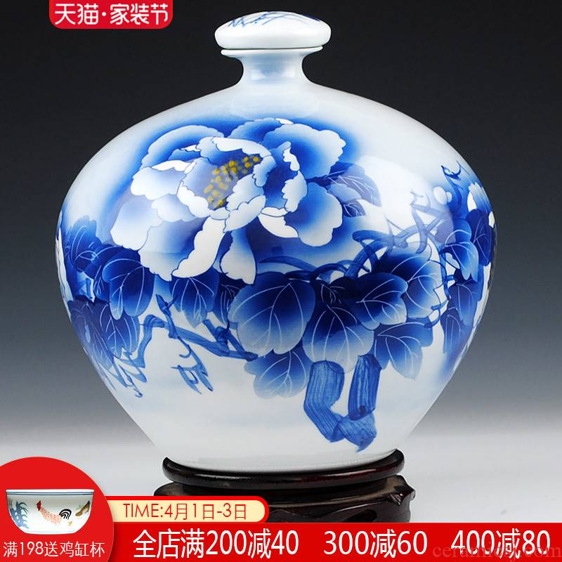 The Master of jingdezhen famous blue and white ten catties outfit Wu Wenhan hand - made ceramic terms bottle 10 jins jars jugs seal