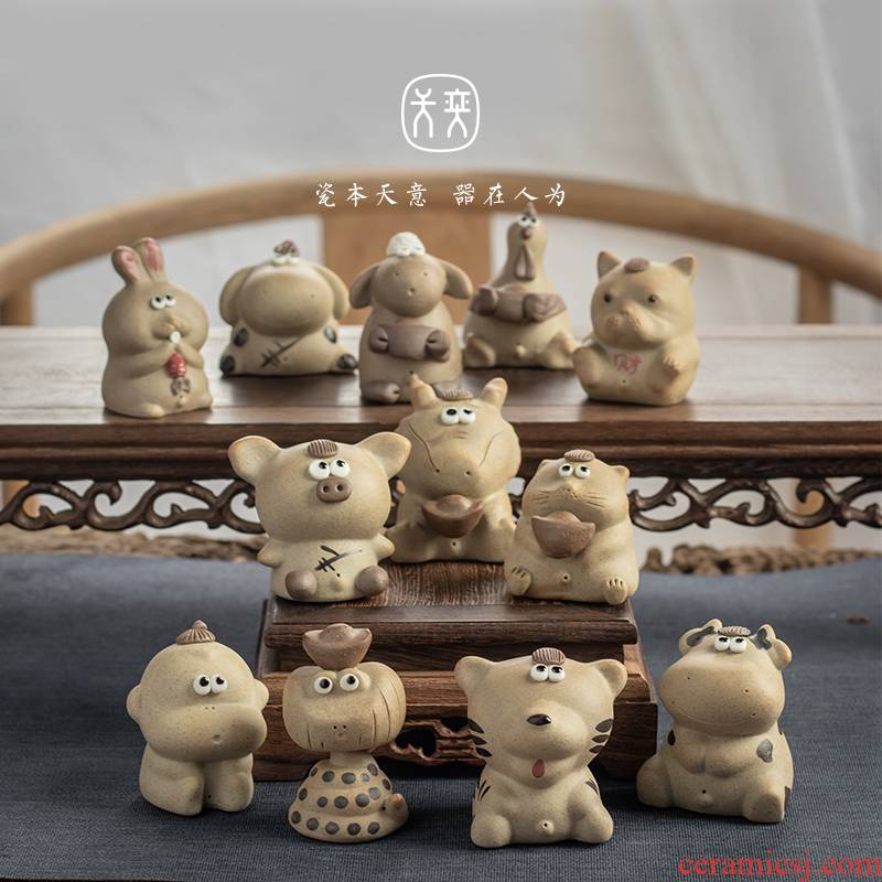 Chinese zodiac tea pet day game play jingdezhen ceramic tea tea tray was small place can be a creative hydraulic fortune