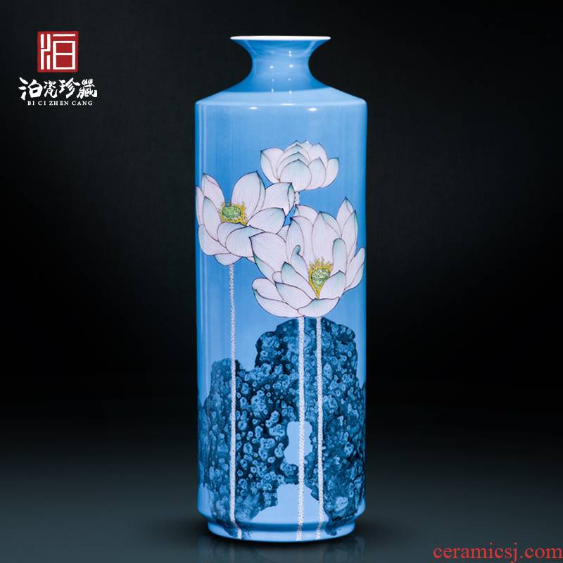 The Master of jingdezhen ceramics hand - made lotus decoration new sitting room of Chinese style household vase collection furnishing articles