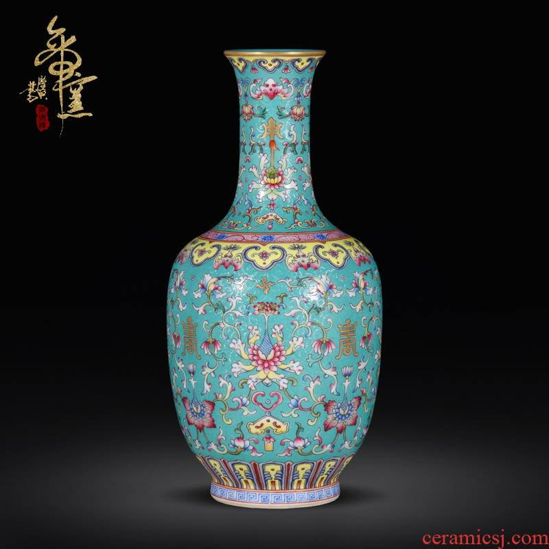 Emperor up jingdezhen hand - made archaize ceramic vase grilled green flower of Chinese style porch decoration as furnishing articles collection