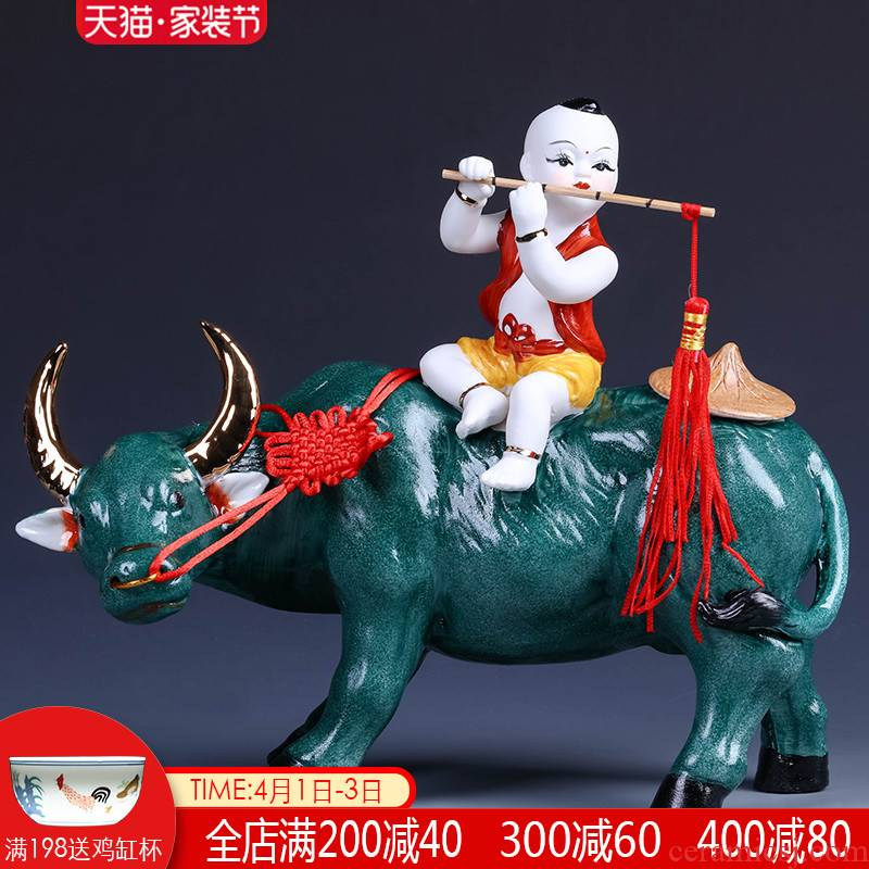 Jingdezhen ceramics cowboy ride to feng shui furnishing articles of modern Chinese style household wine TV ark, sitting room adornment