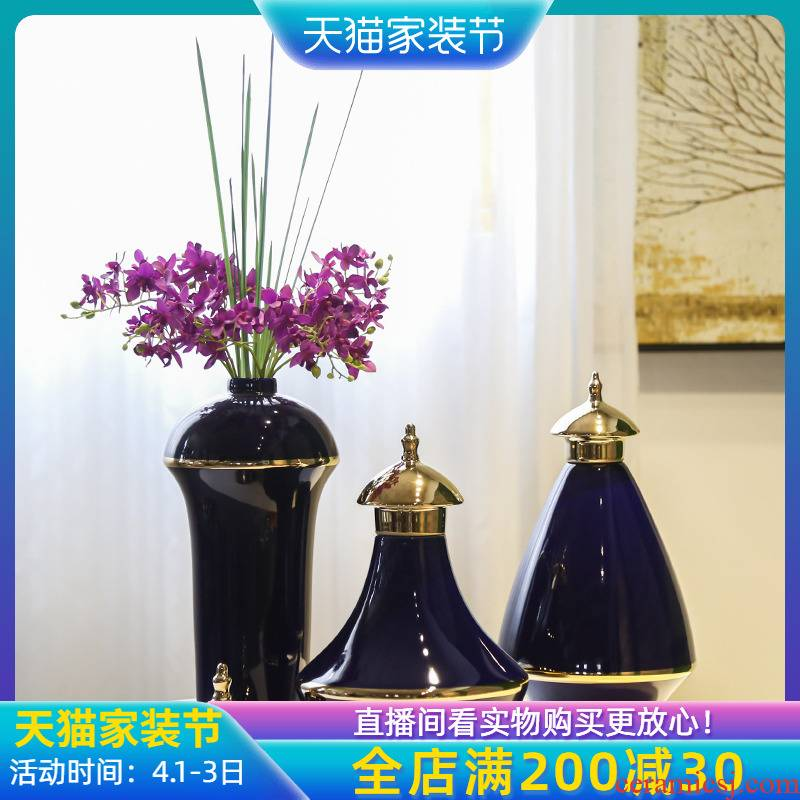 Jingdezhen ceramic general canister light of new Chinese style living room key-2 luxury furnishing articles club mesa receptacle between example hotel floral outraged