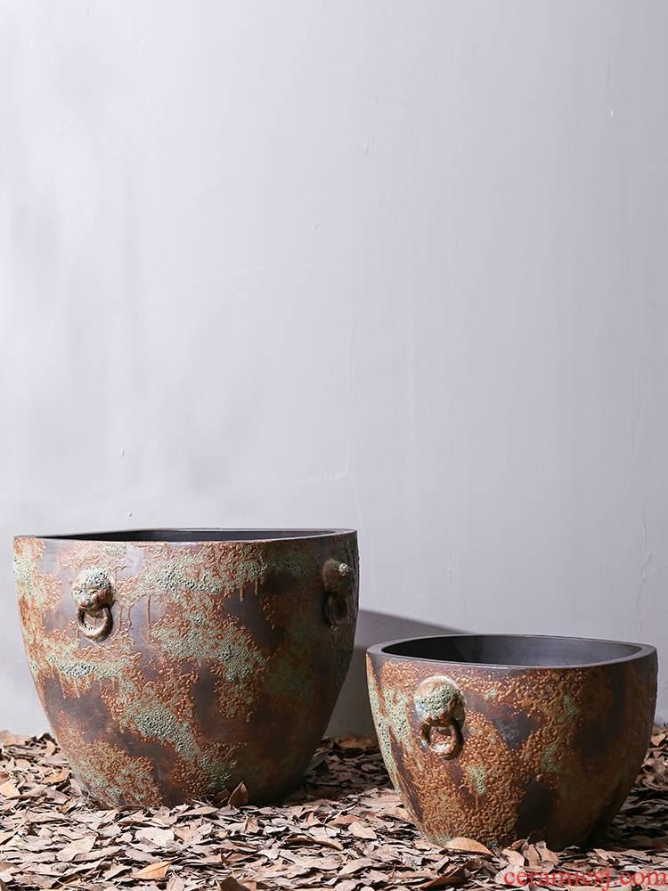 Jingdezhen ceramic retro large aquarium fish basin to the tortoise lotus lotus flower pot cylinder courtyard gardens furnishing articles