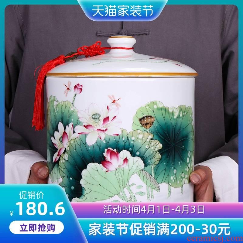 Jingdezhen ceramic large tea tea pot put POTS storage tank flower POTS sealed as cans of tea boxes home