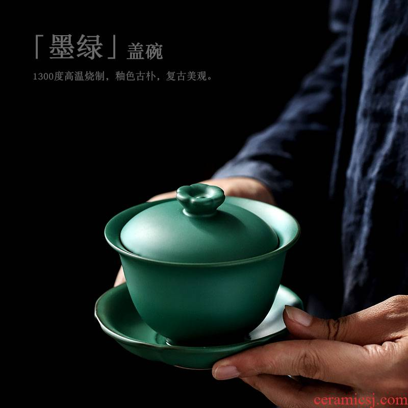 ShangYan ceramic tureen large kung fu tea tea cups three restoring ancient ways of the bowl bowl propose creative tea bowl cups