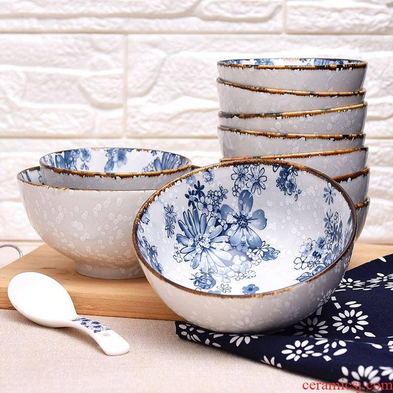 4/6/8 pack a Japanese snow under the glaze made pottery bowls suit creative rainbow such use microwave bowl of rice bowls