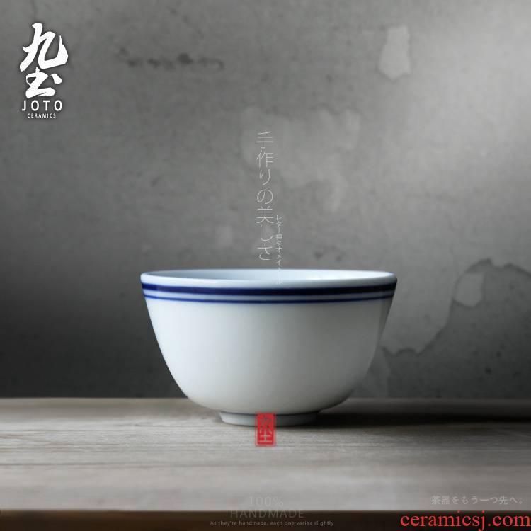 Small ceramic bowl masters cup nine soil sample tea cup Japanese blue and white porcelain tea set kung fu tea cups tea cup