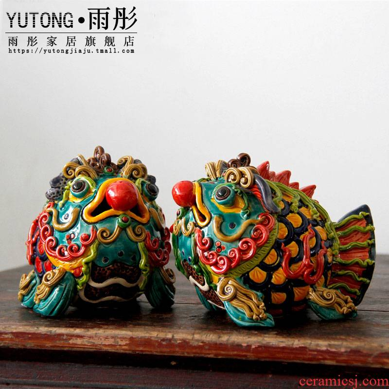 Rain tong home | jingdezhen ceramics colorful ruyi Pisces spit bead/auspicious god beast home furnishing articles
