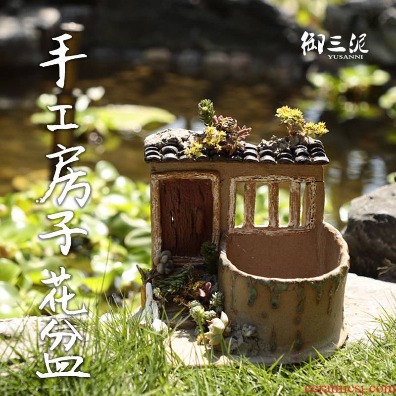 Creative ceramic vases, new Chinese zen decorations office small bonsai house garden rockery restoring ancient ways furnishing articles