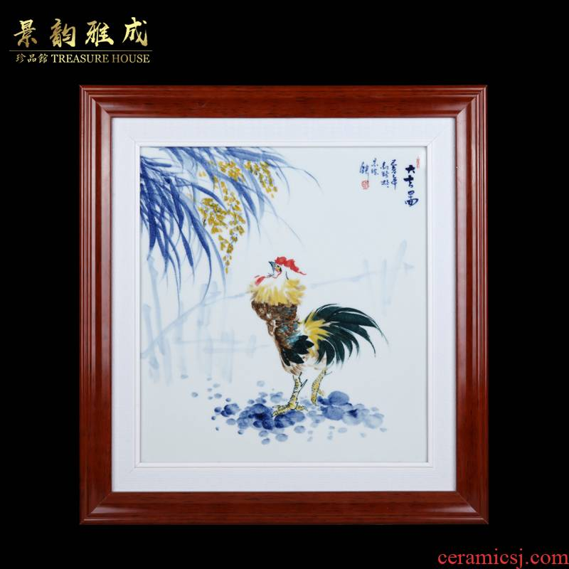 Jingdezhen ceramic hand - made fine figure study of sitting room sofa setting wall adornment household porcelain plate painting that hang a picture