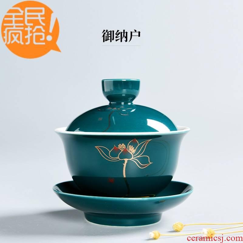 Hui shi tureen tea bowl large thin tea are three tea bowl of blue and white porcelain ceramic white porcelain bowl