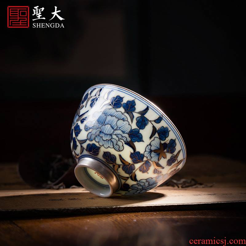 Blue and white trace silver Santa teacups hand - made ceramic kungfu peony lines master cup sample tea cup jingdezhen tea service