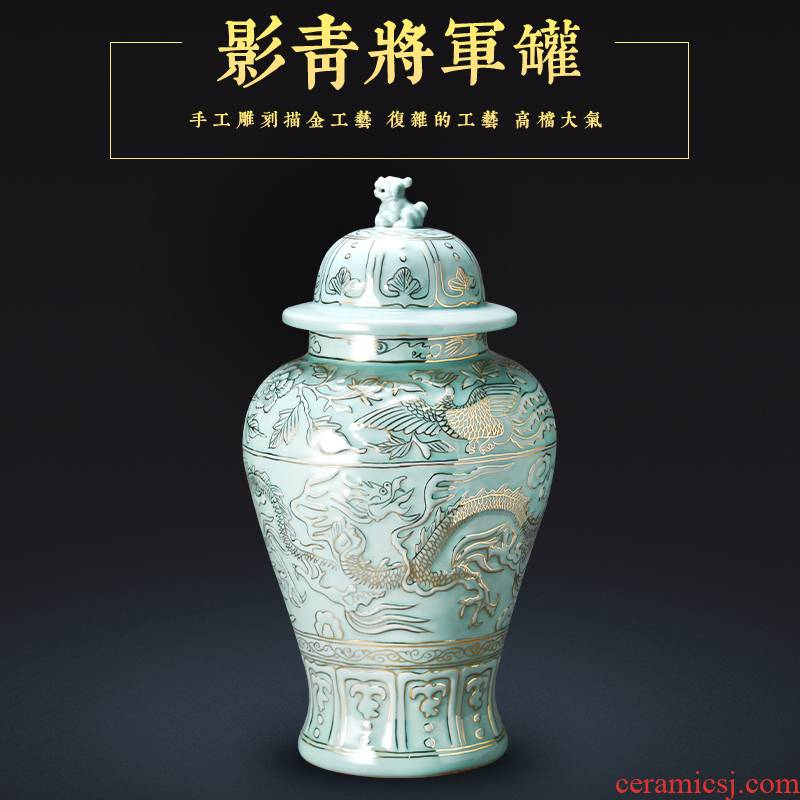 Jingdezhen chinaware paint antique hand - made the general pot of furnishing articles ornaments archaize classic Chinese style large living room