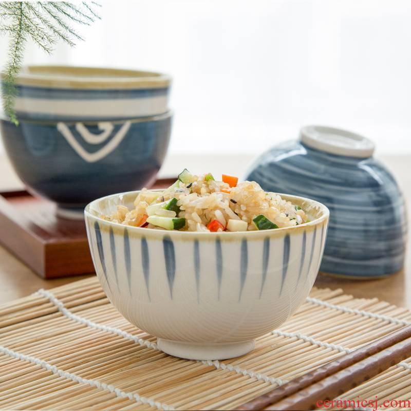 Japanese Nordic ins wind web celebrity blue hand - made under glaze color small bowl of household ceramic bowl bowl dessert bowl of tableware