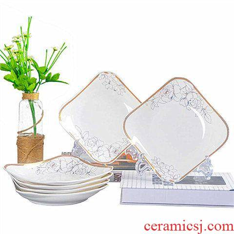 10 dishes of jingdezhen ceramic ruyi dish household ipads porcelain plate disc deep dish special dish dish combination