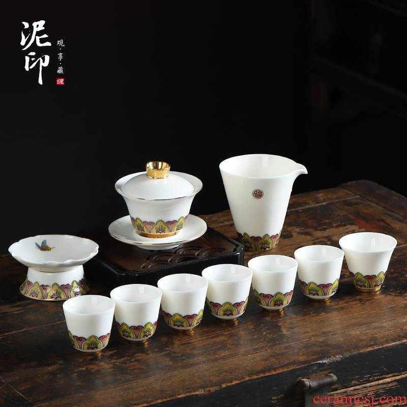 Dehua white porcelain clay seal kung fu tea set suit household contracted a visitor suet jade porcelain office tea gift boxes