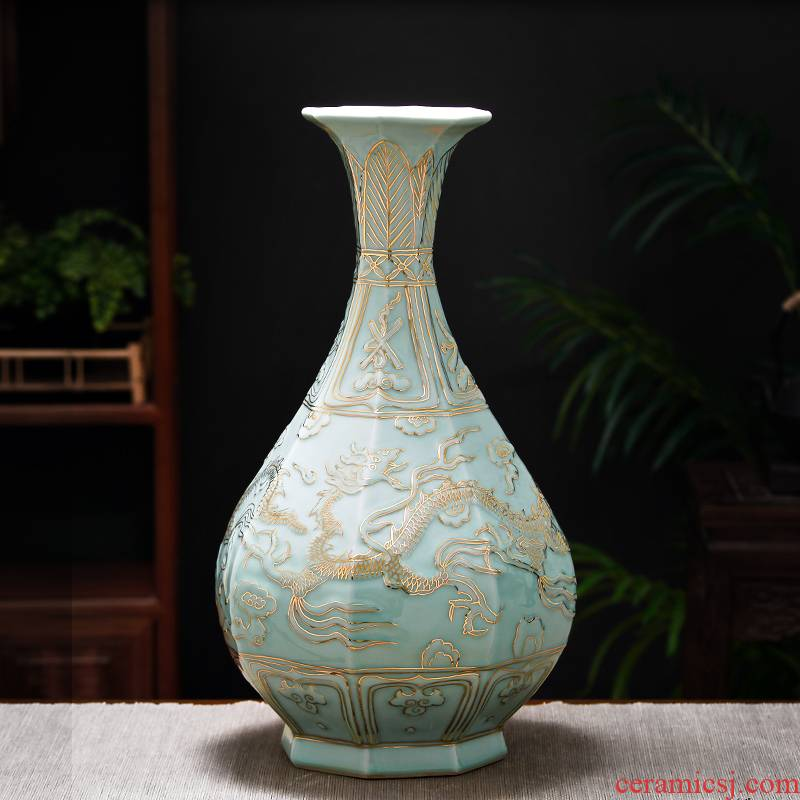 Jingdezhen ceramics, vases, flower arrangement sitting room hand - made paint shadow blue okho spring Chinese style restoring ancient ways is rich ancient frame furnishing articles