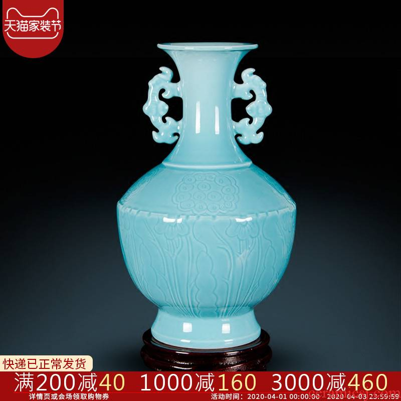 Jingdezhen ceramics imitation yongzheng ears vase archaize sitting room of Chinese style household adornment porch partition furnishing articles