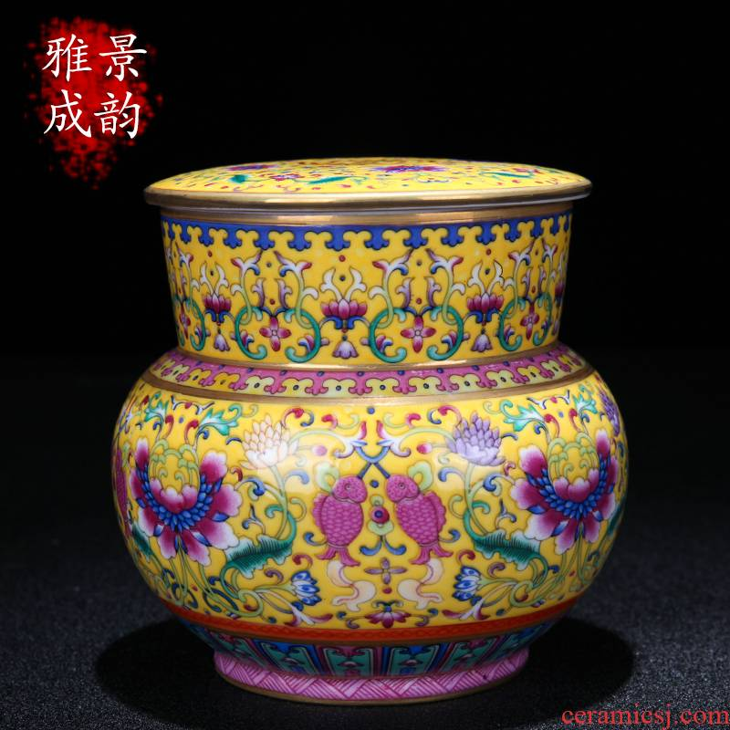 Jingdezhen ceramic see colour enamel caddy fixings of new Chinese style household snacks general storage tank decorative furnishing articles