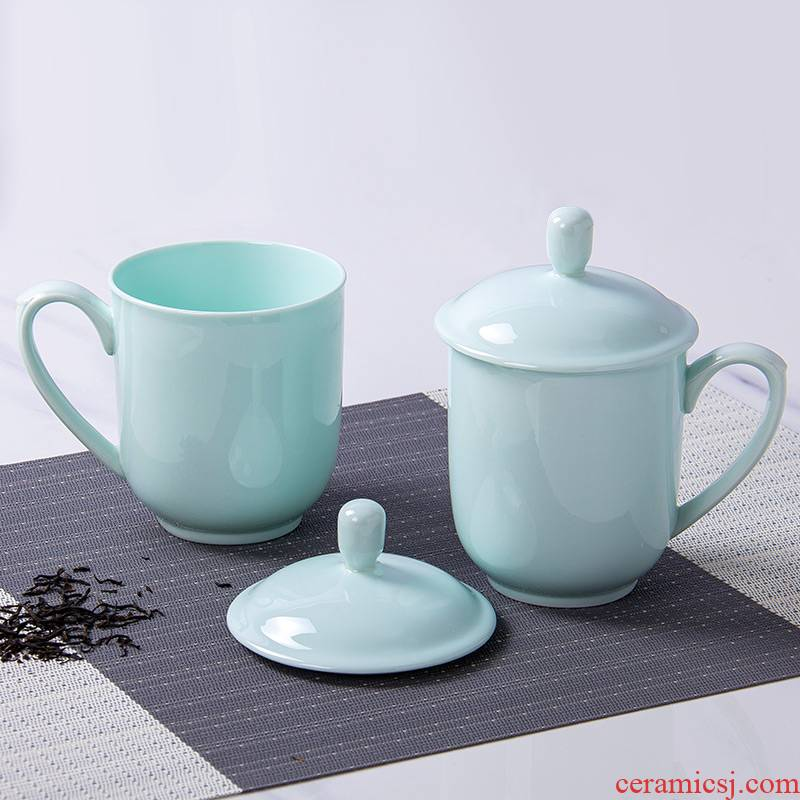Jingdezhen celadon contracted business conference cup cup office glass ceramic ipads China tea cup creative with cover glass