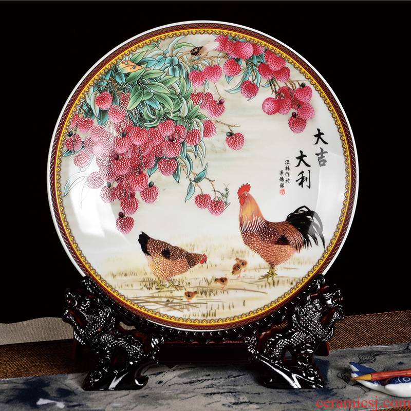 Z016 jingdezhen ceramics home sitting room adornment is placed the new Chinese style decoration plate hang dish prosperous new Year